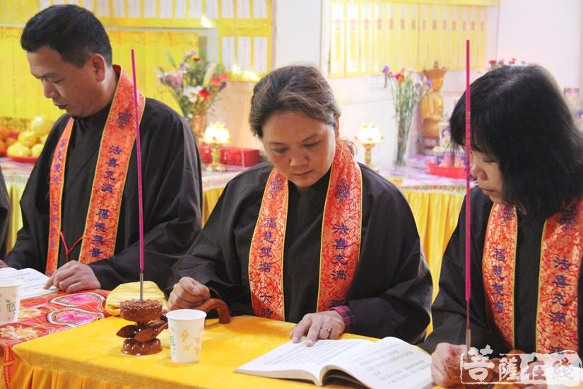 护法居士认真念诵(图片来源:菩萨在线 摄影:妙文)