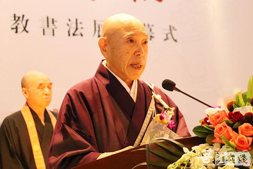 森本公诚长老表示中日佛教一直保持着友好交流(图片来源:菩萨在线 摄影:妙月)