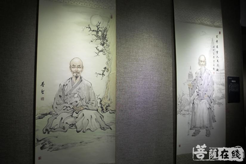 本次书画展共展出范扬、郭公达、演一法师等书画作品共99幅(图片来源:菩萨在线 摄影:妙雨)