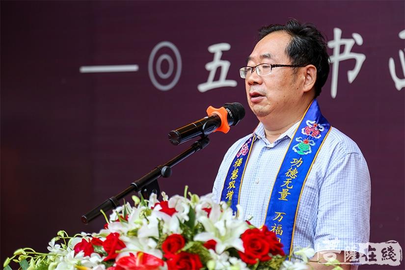 苏州市书法家协会副主席周雪耕对本次活动表示祝贺(图片来源:菩萨在线 摄影:妙澄)