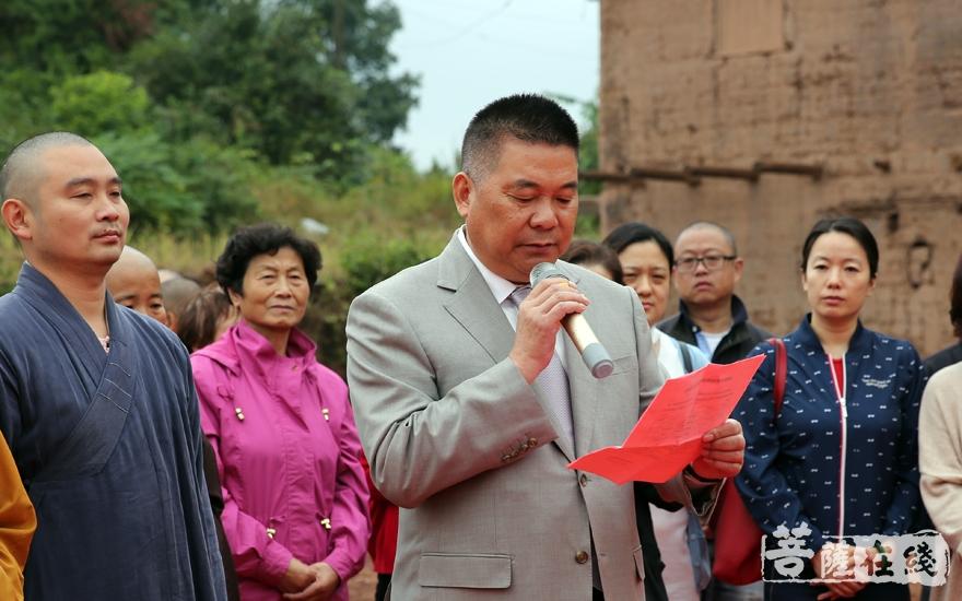 护法居士代表表示将继续发心护持道场(图片来源:菩萨在线 摄影:妙澄)