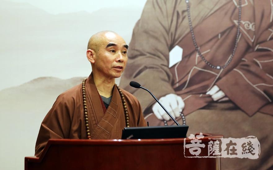 天童禪寺方丈誠信大和尚表示要緬懷大師的豐功偉績,秉承他佛教中國化的優良傳統(圖片來源:菩薩在線 攝影:妙雨)