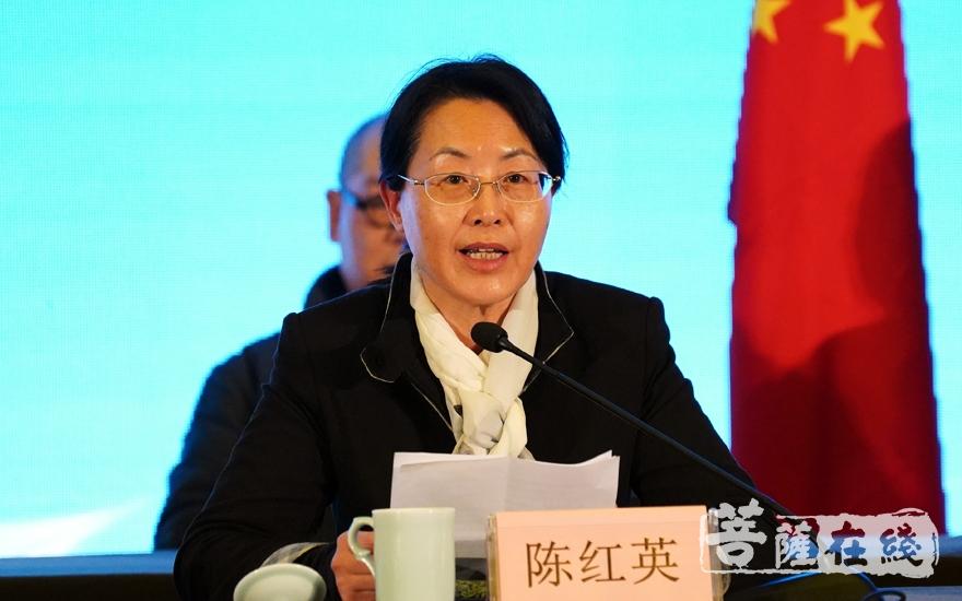 杭州市政府副市长陈红英向本次讲经交流会的圆满举办表示祝贺(图片来源:菩萨在线 摄影:妙雨)