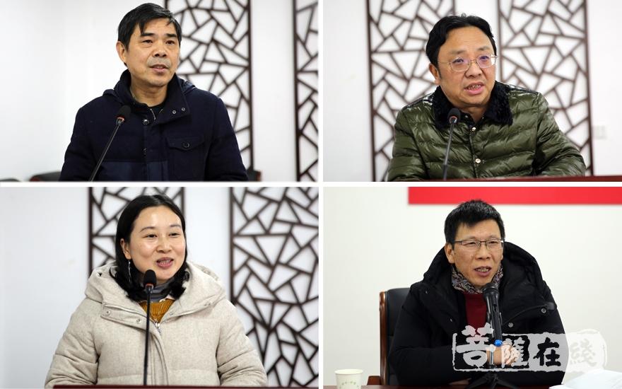 张家成、杨维中、张佳、陈永革对论文进行研讨(图片来源:菩萨在线 摄影:妙雨)