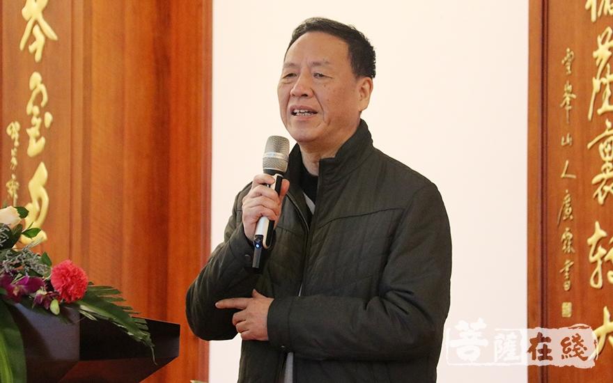 福建省佛教慈善协会顾问周景洛致辞(图片来源:菩萨在线 摄影:妙月)