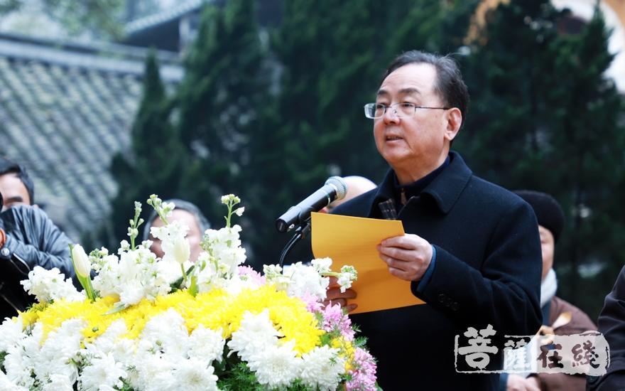 台州市委统战部部长单坚致悼词(图片来源:菩萨在线 摄影:妙雨)