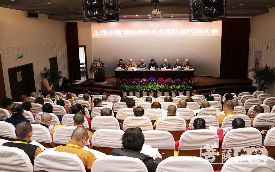 青浦区佛教协会第四届代表会议开幕式(图片来源:菩萨在线 摄影:妙月)