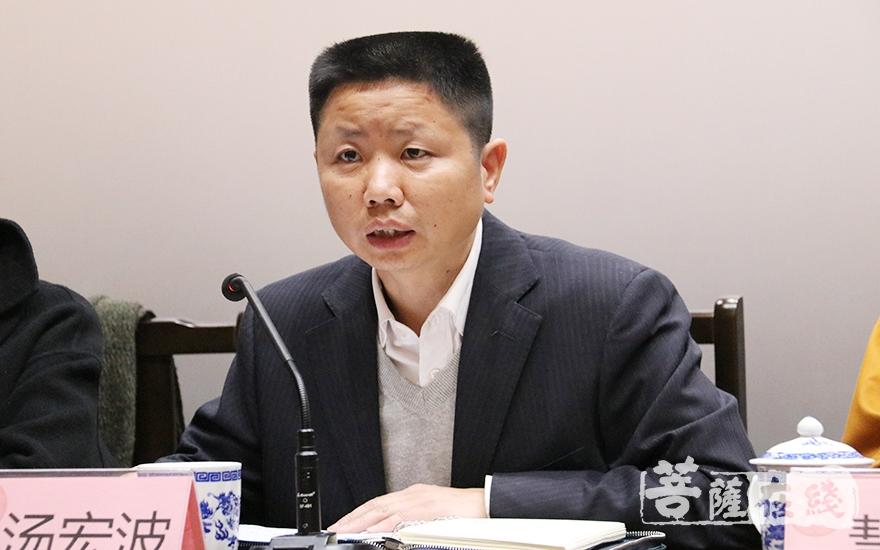 汤宏波副部长叮嘱青浦区佛协要积极坚持正确的政治方向(图片来源:菩萨在线 摄影:妙月)