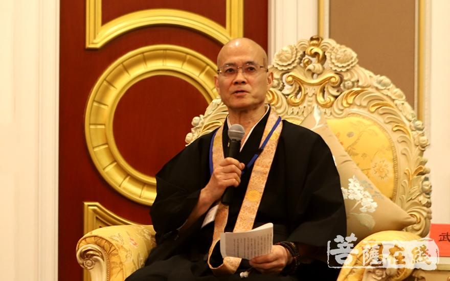 日本佛教代表团团长武觉超法师致辞(图片来源:菩萨在线 摄影:妙静)