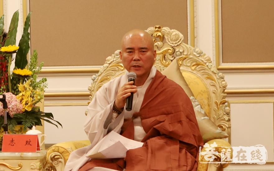 韩国佛教代表团团长志玟法师致辞(图片来源:菩萨在线 摄影:妙静)