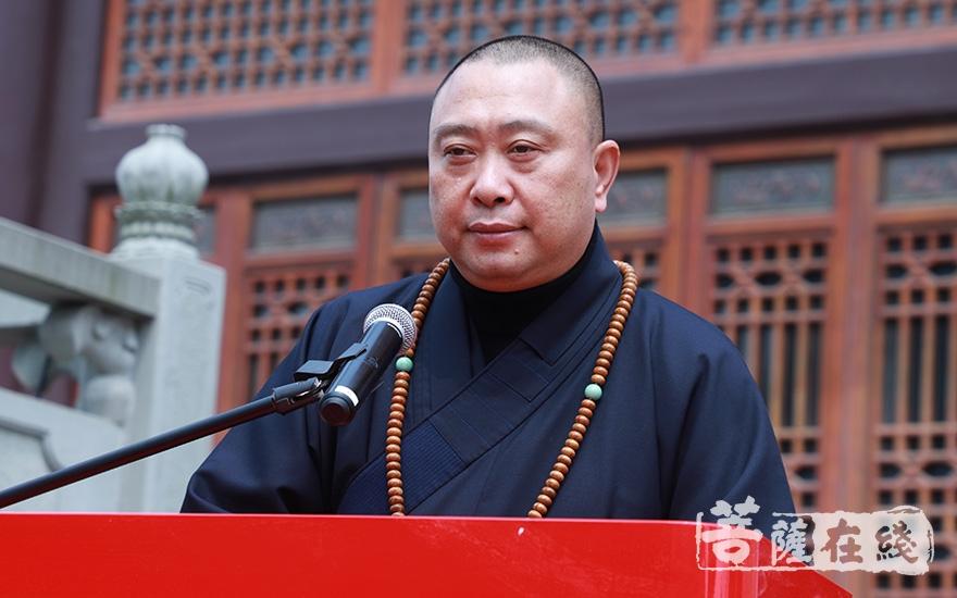 上海市金山区佛教协会会长续建大和尚致贺词(图片来源:菩萨在线 摄影:妙澄)