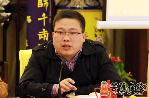 上海市民宗委三处干部卢大海讲话(图片来源:菩萨在线 摄影:妙雨)