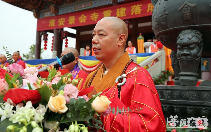 佛闻法师表示景会寺将继续发扬爱国爱教的传统,高举人间佛教的理论旗帜(图片来源:菩萨在线 摄影:妙雨)