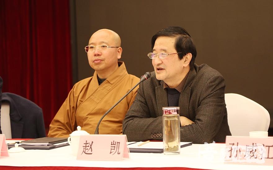 安徽省作家协会副主席赵凯阐述佛教与文学的关系(图片来源:菩萨在线 摄影:慧恒)
