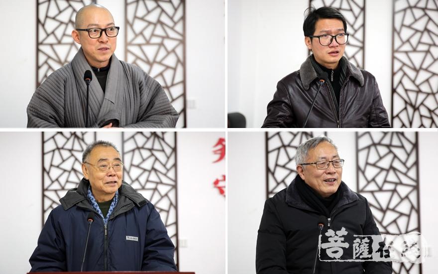 法志法师、习细平、麻天祥、黄公元对论文进行演讲(图片来源:菩萨在线 摄影:妙雨)