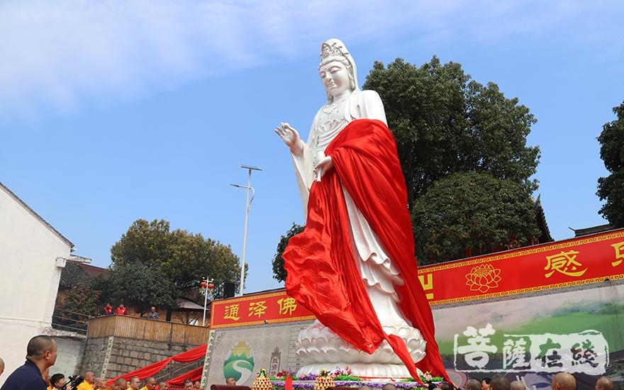 观音菩萨圣像揭幕(图片来源:菩萨在线 摄影:妙澄)