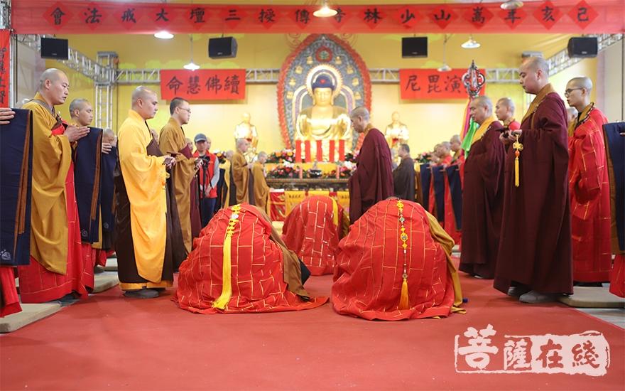 虔诚跪拜(图片来源:菩萨在线 摄影:张范仁)