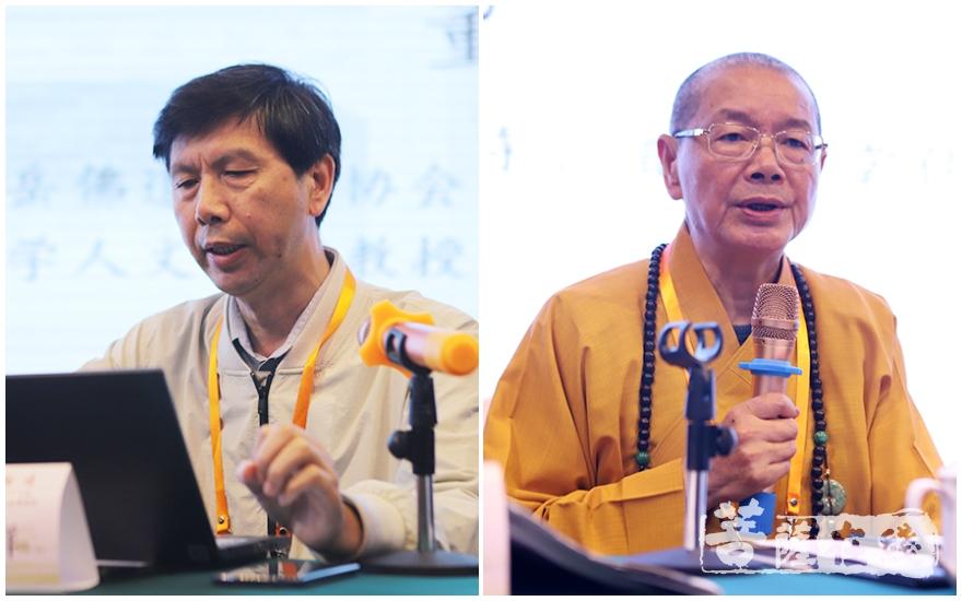董群发表论文(左),净耀大和尚点评(右)(图片来源:菩萨在线 摄影:王颖)