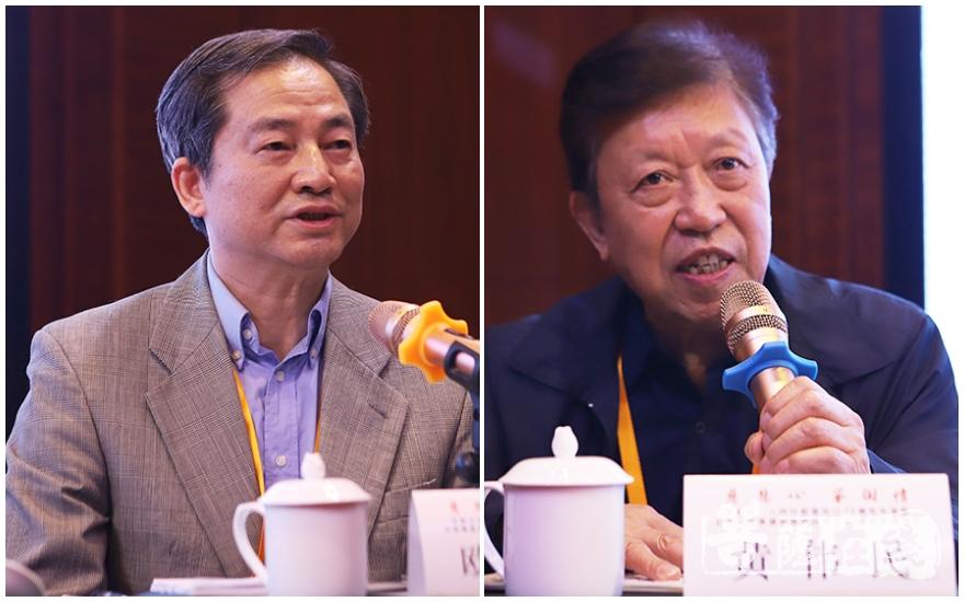 欧阳维发表论文(左),黄伟民点评(右)(图片来源:菩萨在线 摄影:王颖)