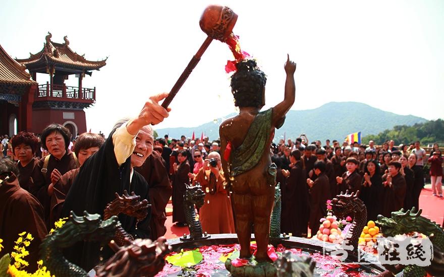 信众浴佛(图片来源:菩萨在线 摄影:齐志国)