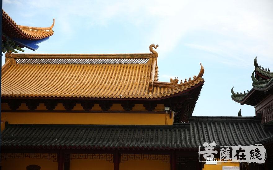 蓝天下的兴隆寺(图片来源:菩萨在线 摄影:施琪)