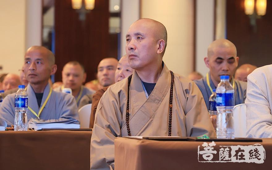 中国佛学院副院长向学法师参加论坛(图片来源:菩萨在线 摄影:张妙)
