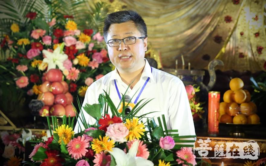 刘威秘书长表示,要认真研究禅宗文化、探究禅宗精神(图片来源:菩萨在线 摄影:王正强)