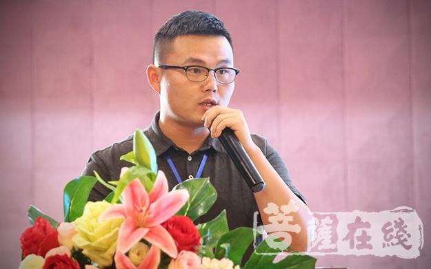 """谢飞教授作""""禅宗祖庭""""论坛总结(图片来源:菩萨在线 摄影:唐林雪)"""