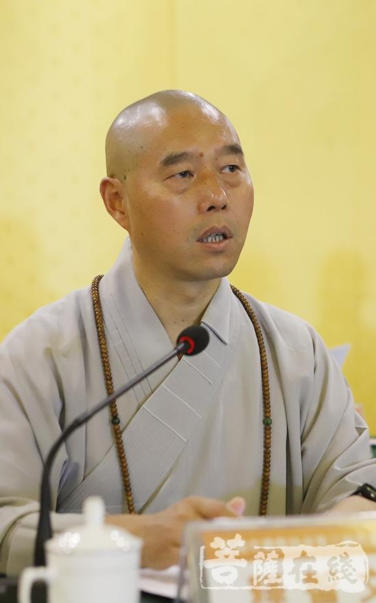 智文大和尚代表安徽省佛教协会提出四点建议(图片来源:菩萨在线 摄影:贺雪垠)