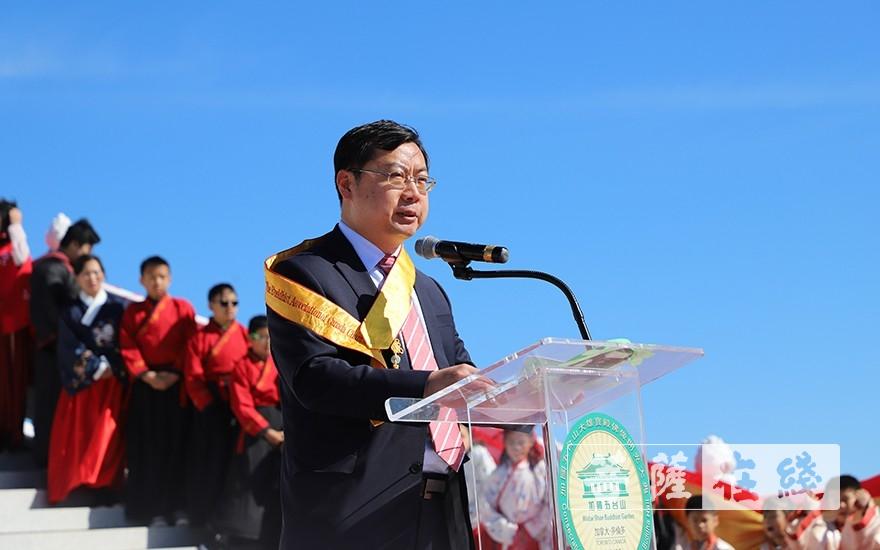 中國駐多倫多副總領事莊耀東對湛山精舍作出的積極貢獻表示肯定(圖片來源:菩薩在線 攝影:彭明軍)