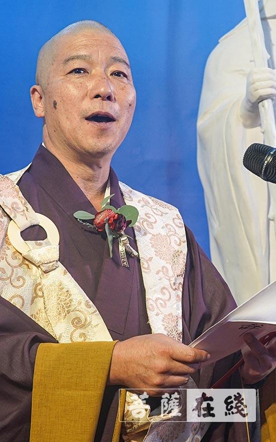 荒木将旭总长肯定隐元禅师所作出的的贡献(图片来源:菩萨在线 摄影:卢鹏宇)