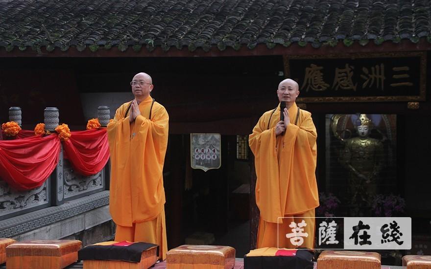二师向七尊证师道喜(图片来源:菩萨在线 摄影:王颖)