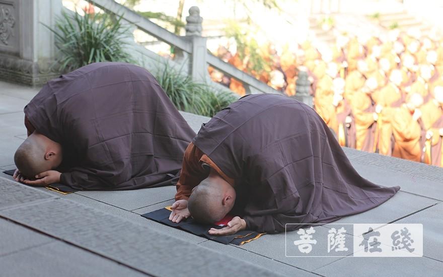 新戒代表顶礼十师(图片来源:菩萨在线 摄影:贺雪垠)