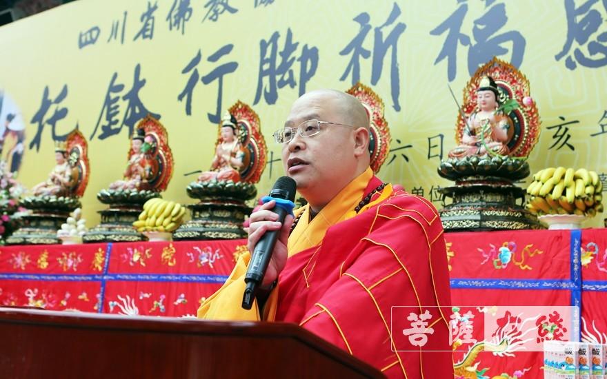 普正大和尚表示此次托钵行脚活动,旨在追忆佛陀脚步,弘扬佛教文化(图片来源:菩萨在线 摄影:李蕴雨)
