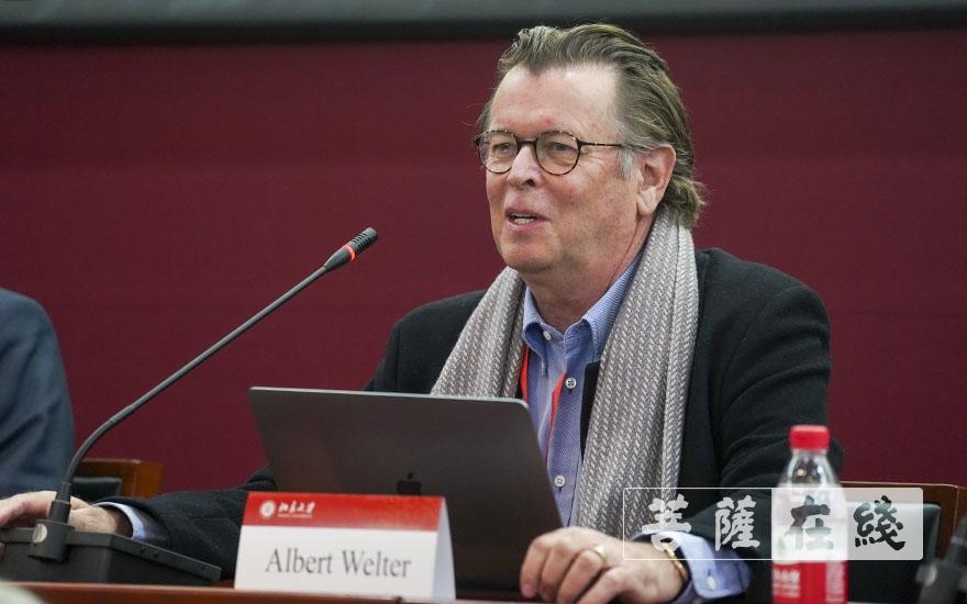 魏雅博(Albert Welter)教授作主题发言(图片来源:菩萨在线 摄影:张妙)
